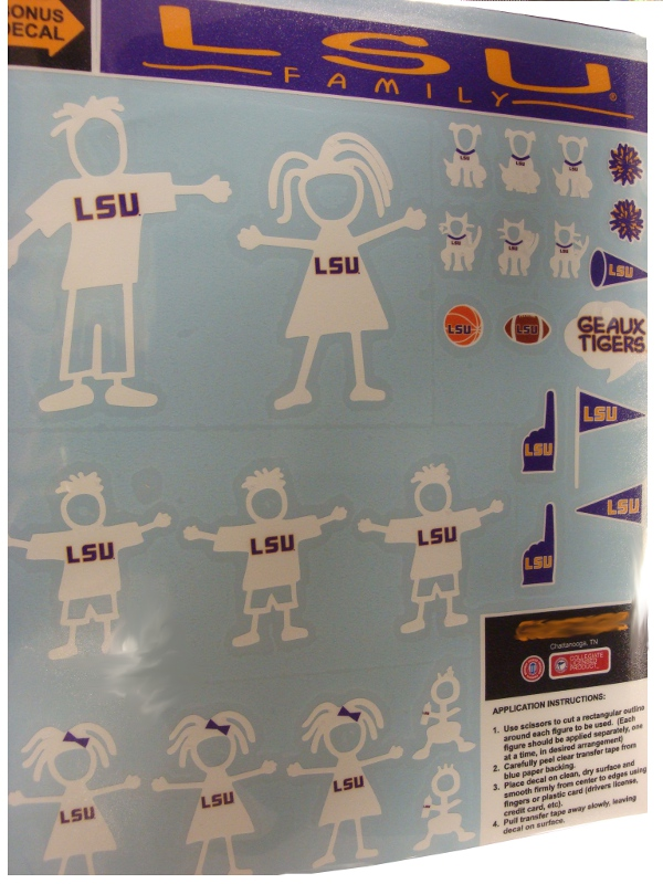 LSU Tigers White Outline Family Decal Sheet