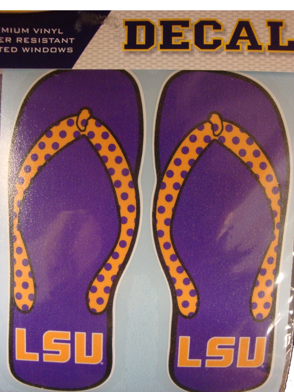 LSU Tigers Purple and Gold Polka Dot Flip Flop Decal