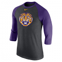 Nike LSU Men's 3/4 Raglan Sleeve Logo Baseball Tee - Purple & Grey