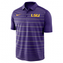 Nike LSU Men's Striped Polo - Purple and Grey