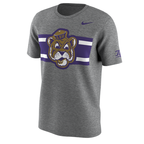 LSU Tigers Nike Hook Companion Tee to the Mississippi State Game Throwback Jersey - Dk Heather Grey
