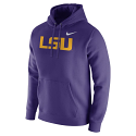 Nike Men's Purple Standard Fit Fleece Logo Hoodie