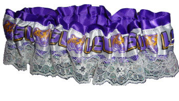 LSU Tigers Satin and Lace Logo Garter - Purple, White & Gold