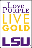 "LSU Love Purple Live Gold 4"" Decal"