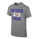 LSU Nike National Championship 15 and EAUX Short Sleeve T-Shirt - Grey