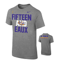 LSU Nike YOUTH National Championship 15 and EAUX Short Sleeve T-Shirt - Grey
