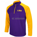 LSU Men's Colosseum Setter 1/4 Zip Fleece Pullover Jacket - Purple and Gold