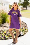 "LSU Women's Purple Snow Washed ""Adventure Awaits"" Cold Shoulder Dress"