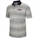Colosseum LSU Men's Lesson Number One Short Sleeve Striped Polo Shirt  - Grey & Black