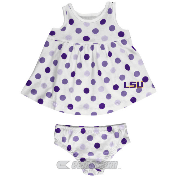 LSU Tigers INFANT Girl's White Polka Dot Dress with Bloomer