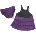 Colosseum Infant Girl's Overall 2-Piece Ruffled Dress Set - Blue Denim and Purple