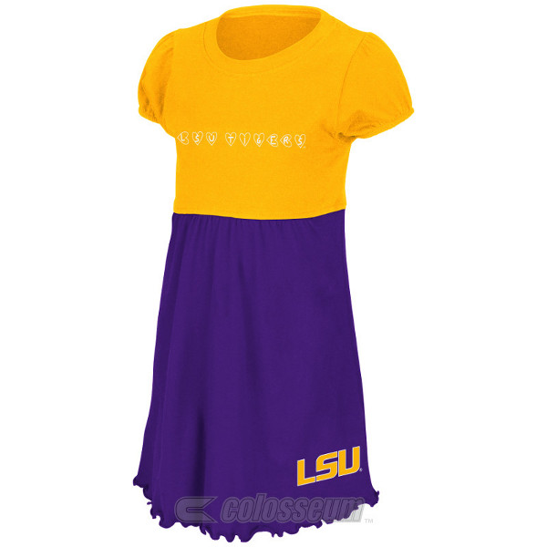 Colosseum LSU Tigers Infant and Toddlers Purple and Gold Cupid Dress