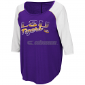 Colosseum LSU Women's Draw a Crowd Raglan Baseball Top - Purple and White