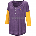 Colosseum LSU Women's Major League Baseball Henley - Purple and Gold