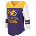 Colosseum LSU Women's Purple, Gold & White Polermo 3/4 Sleeve Tee