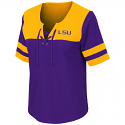 Colosseum LSU Women's Purple and Gold Naples Lace-Up Tee