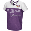Colosseum LSU Girl's Palledorous Short Sleeve Dolman Tee - Purple and White