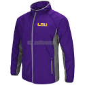 LSU Men's Colosseum Archer Full Zip Hooded Jacket - Purple and Grey