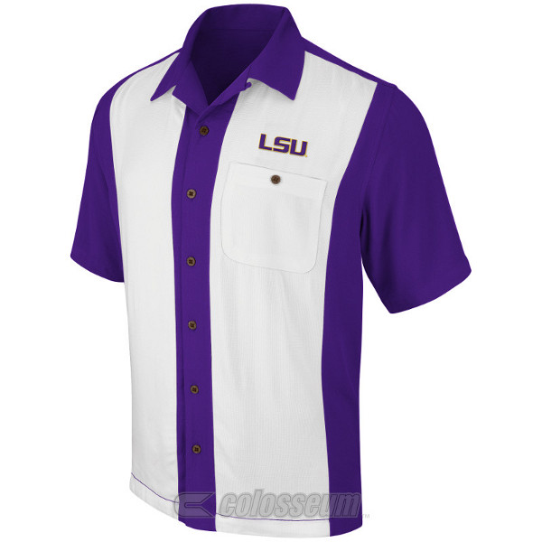 Chiliwear LSU Tigers Purple and Egg Shell White Hana Camp Shirt by Colosseum
