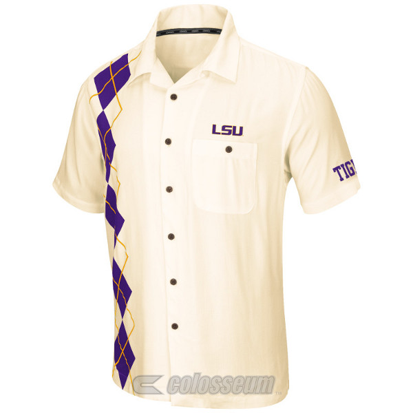Chiliwear LSU Tigers Egg-Shell White Castaway Camp Shirt