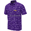 LSU Men's Colosseum Purple Hilo Button-Down Camp Shirt