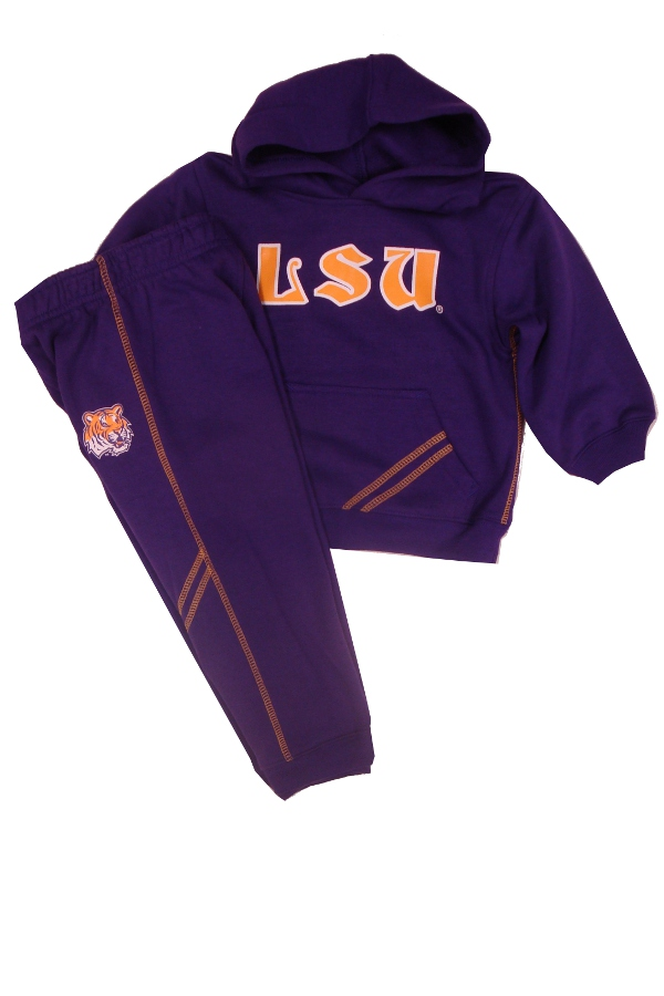 Genuine Stuff LSU Tigers Infant and Toddler Purple 2-Piece Hooded Sweat Shirt and Pant Set