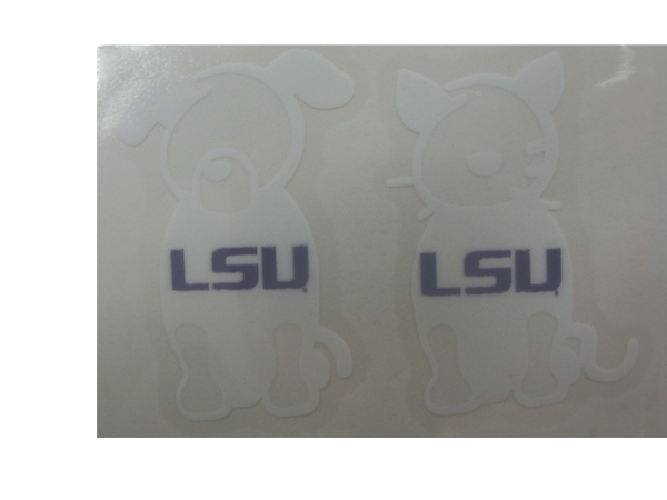 Stockdale LSU Tigers White Outline Dog and Cat Pets Decal