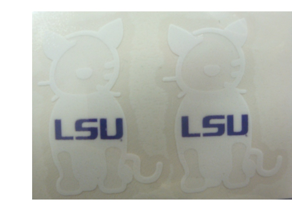 Stockdale LSU Tigers 2-Pack White Outline Cat Pets Decal