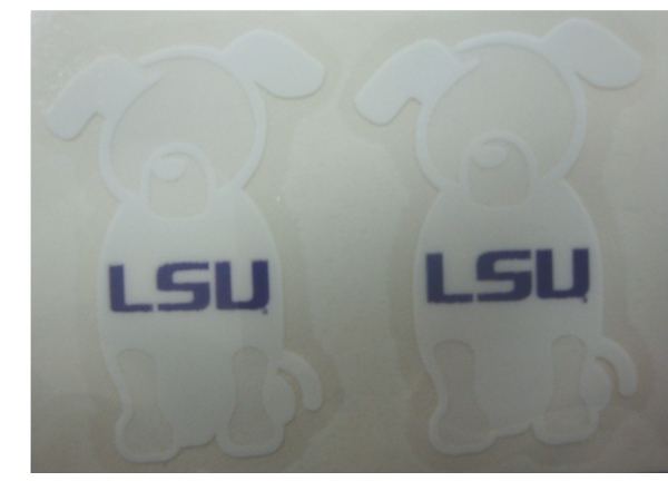 Stockdale LSU Tigers 2-Pack White Outline Dog Pets Decal