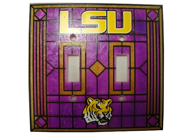 Memory Company LSU Tigers Art Glass Double Switch Plate Cover