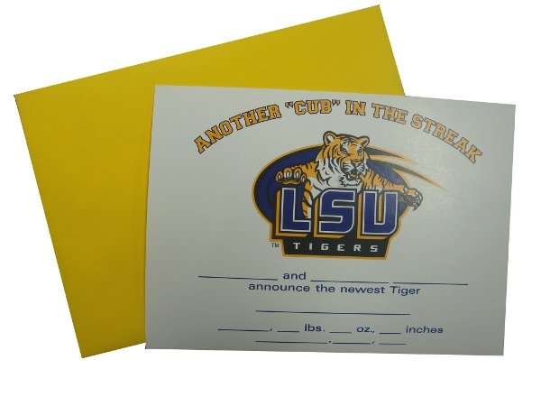 LSU Tigers Birth Announcement Card with Gold Envelope