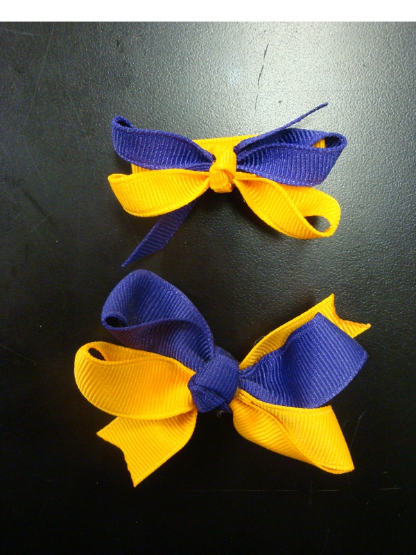 Purple and Gold Clip Hair Bows