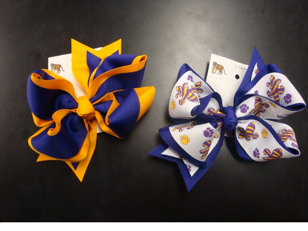 Large Purple and Gold Hair Bow