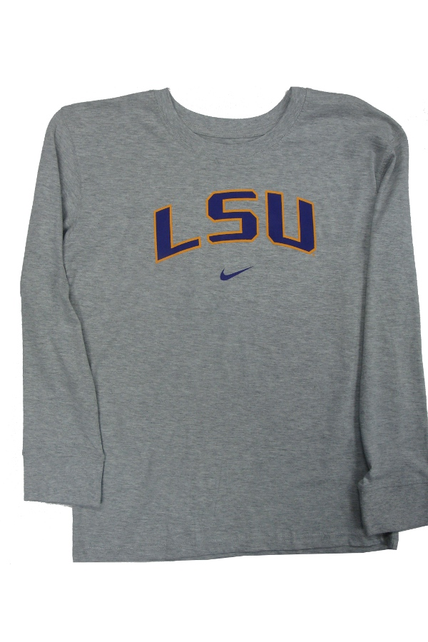 Nike LSU Tigers CHILD and YOUTH Grey Classic Arch Long Sleeve T-Shirt