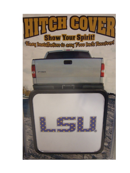 "LSU Tigers Square Polka Dot LSU Logo Hitch Cover fits 2"" receiver - Silver"