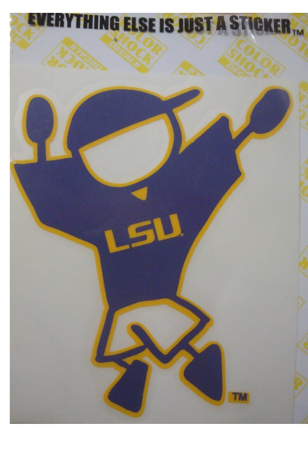 "Color Shock LSU Tigers Baseball Boy Family Decal 3"" x 3.5"""