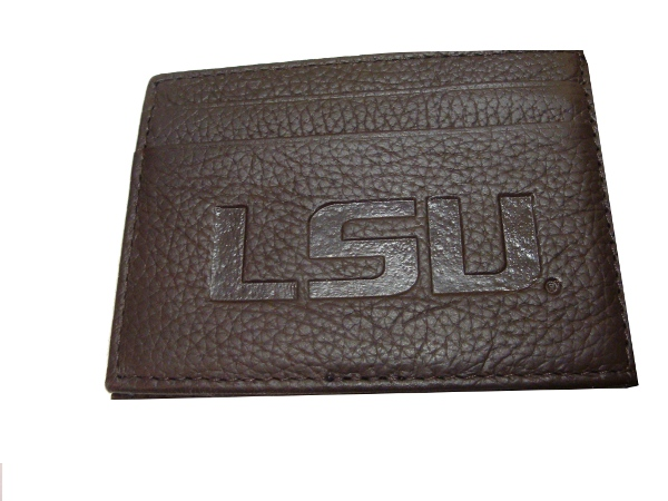 LSU Tigers Embossed Genuine Leather Grain Flip Clip Front Pocket Wallet by Mundi - Brown