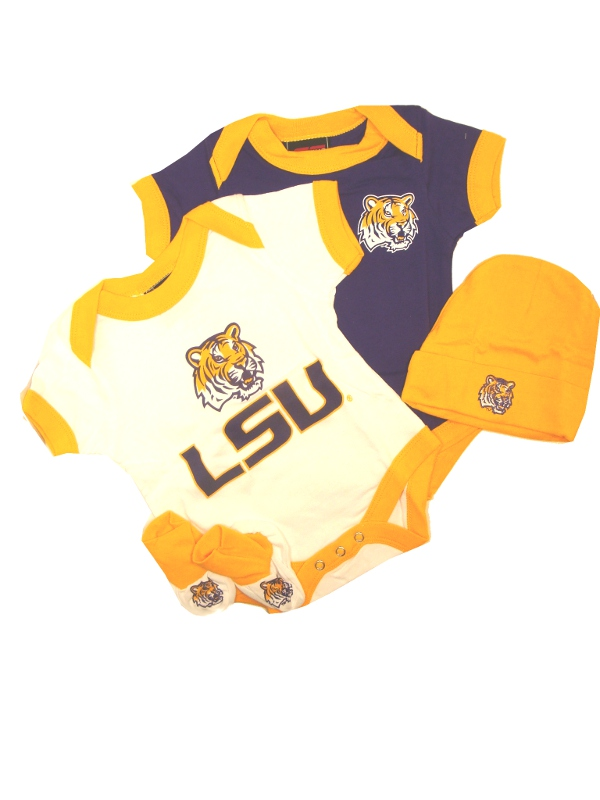 LSU Tigers NCAA 4-Piece Infant Gift Set with Onesies, Booties, and Cap