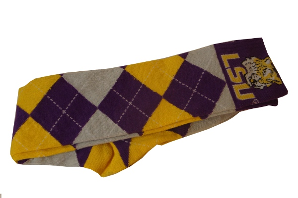 LSU Tigers Argyle Knee Socks - Purple, Grey & White