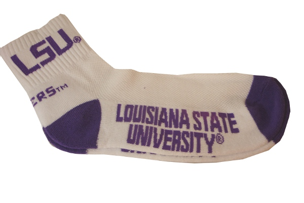 LSU Tigers Adult Quarter Socks - White