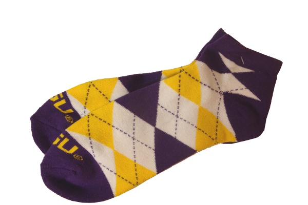 LSU Tigers Adult Argyle Anklet Socks - Purple, Gold & White