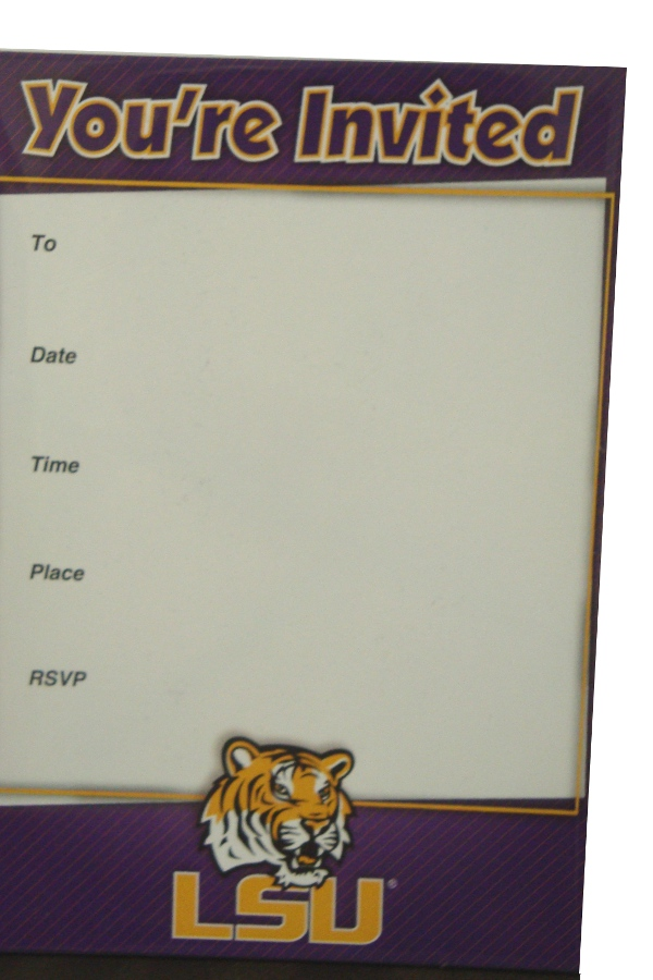 LSU Tigers 10 Pack Invitations with Envelopes