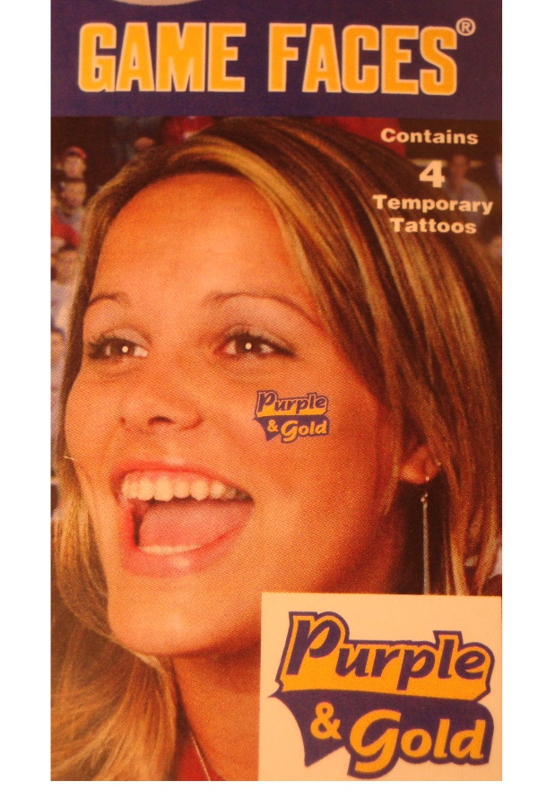 LSU Tigers Purple & Gold 4-Pack Original Game Faces Temporary Tattoos
