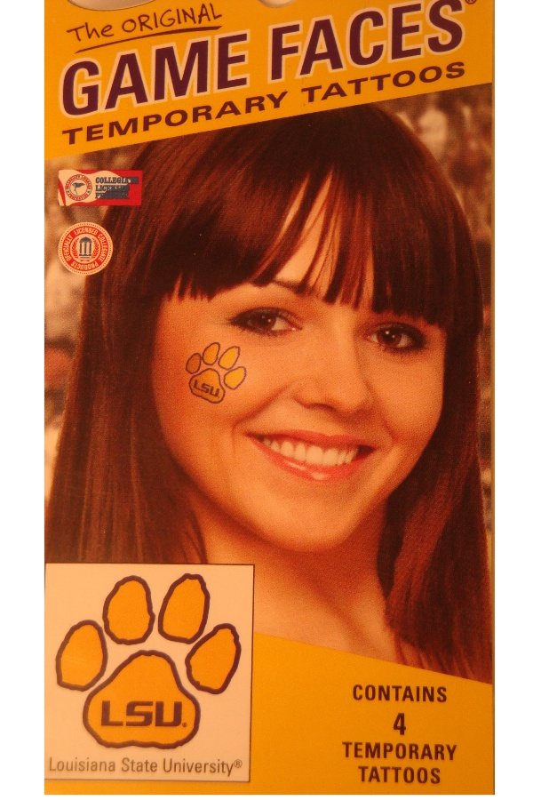 LSU Tigers 4-Pack Gold Paw Original Game Faces Temporary Tattoos