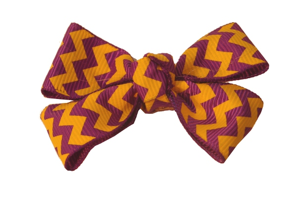 "Purple and Gold 2 1/4"" Chevron Clip Hair Bow #60"