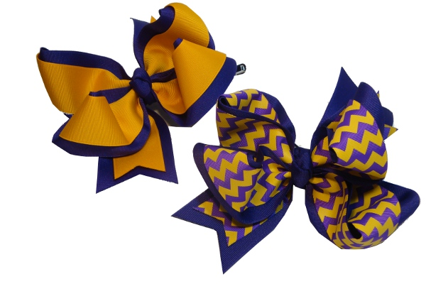 Purple and Gold or Chevron X-Large Double Wrap Grograin Hairbows (price per bow)