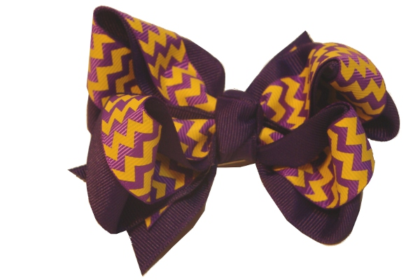 Purple and Gold Chevron Clip Hair Bow
