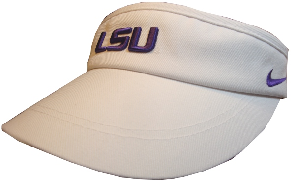 0e280ed7d707f Nike LSU Tigers White Sideline Dri-Fit Visor - PURPLE AND GOLD SPORTS