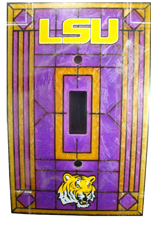 LSU Tigers Stained Art Glass Single Switch Plate Cover