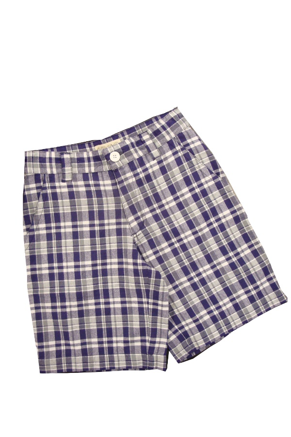 Garb LSU Tigers Boy's Purple, Grey, and White Plaid Keaton Short